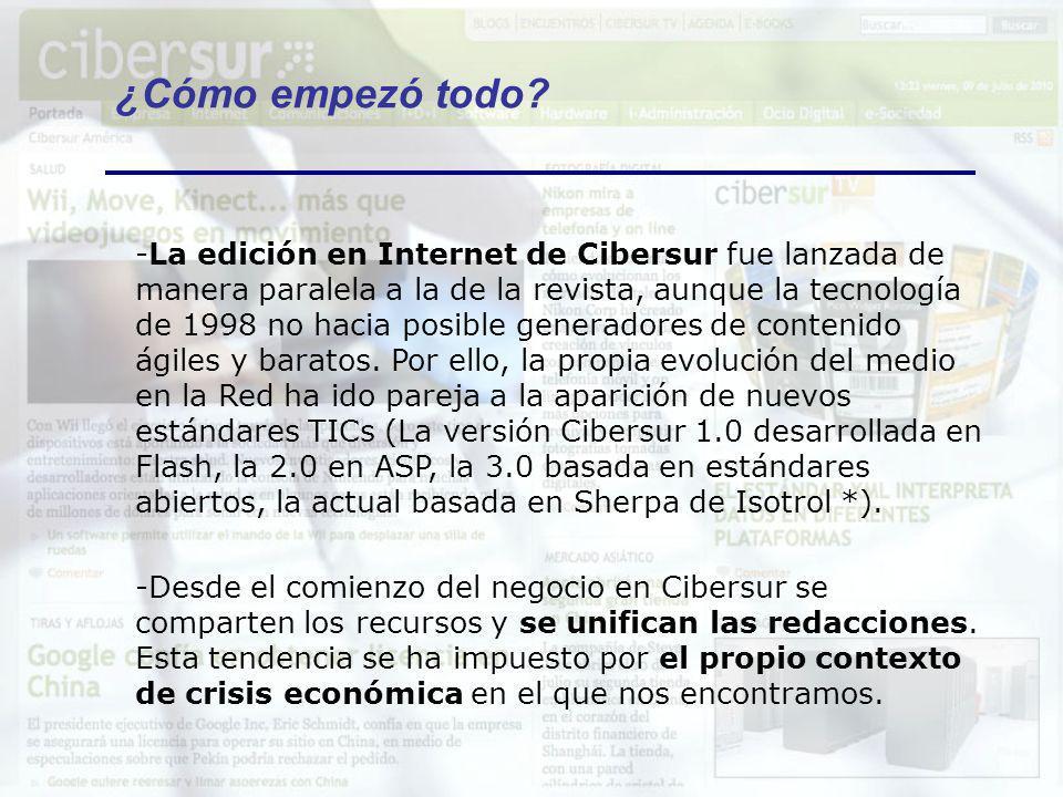 -La edición en Internet de Cibersur fue lanzada de manera paralela a la de la revista, aunque la tecnología de 1998 no hacia posible generadores de co