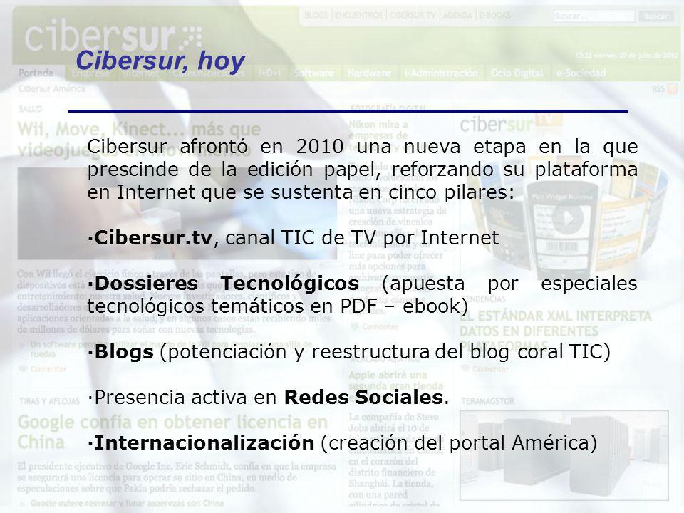 Cibersur afrontó en 2010 una nueva etapa en la que prescinde de la edición papel, reforzando su plataforma en Internet que se sustenta en cinco pilare