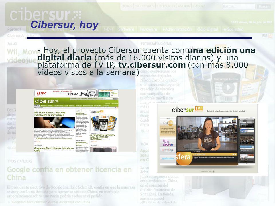 - Hoy, el proyecto Cibersur cuenta con una edición una digital diaria (más de 16.000 visitas diarias) y una plataforma de TV IP, tv.cibersur.com (con