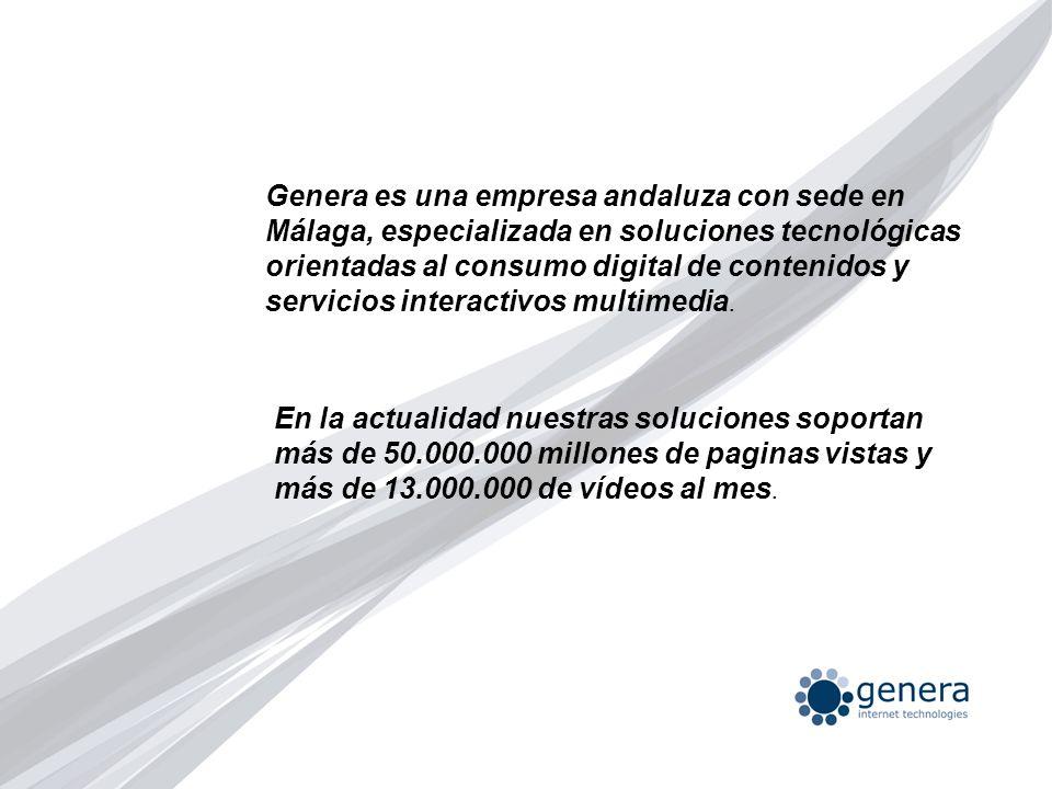 Genera es una empresa andaluza con sede en Málaga, especializada en soluciones tecnológicas orientadas al consumo digital de contenidos y servicios in