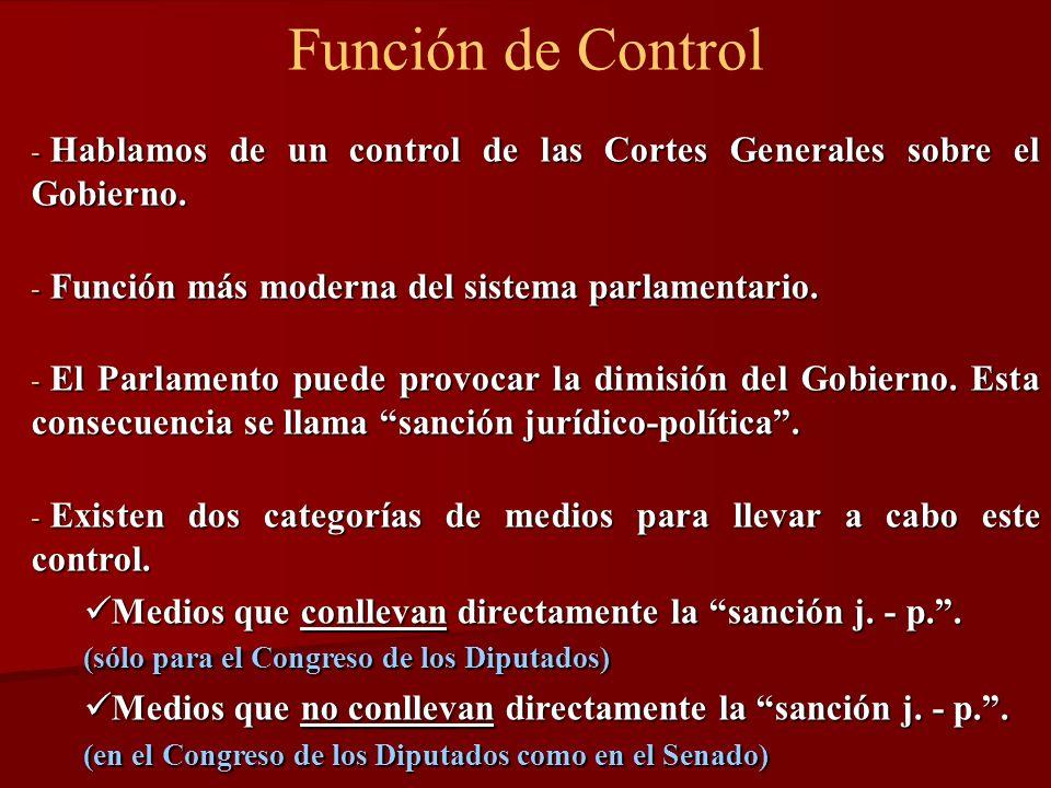 Función de Control - Hablamos de un control de las Cortes Generales sobre el Gobierno. - Función más moderna del sistema parlamentario. - El Parlament