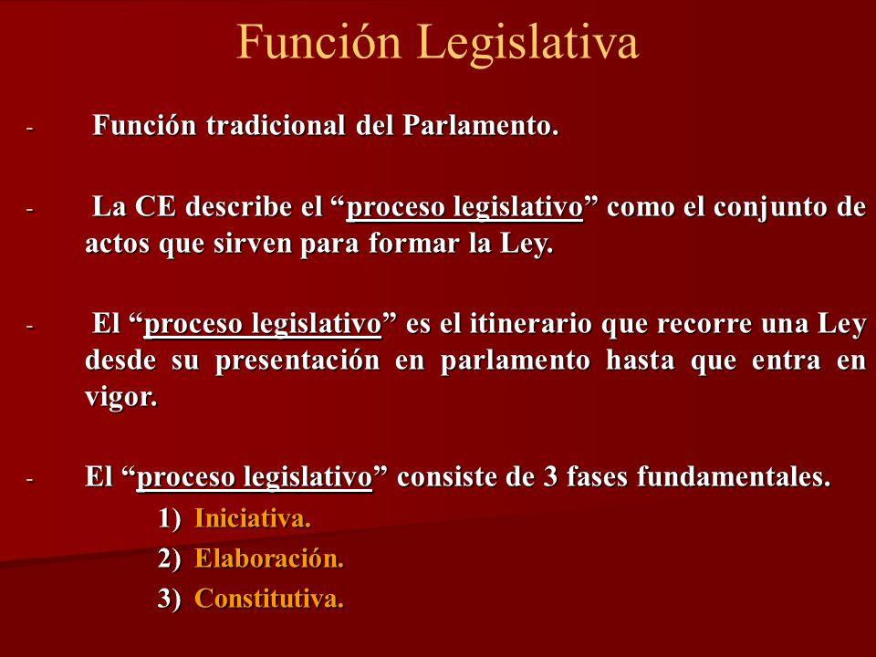 Función Legislativa - Función tradicional del Parlamento. - La CE describe el proceso legislativo como el conjunto de actos que sirven para formar la