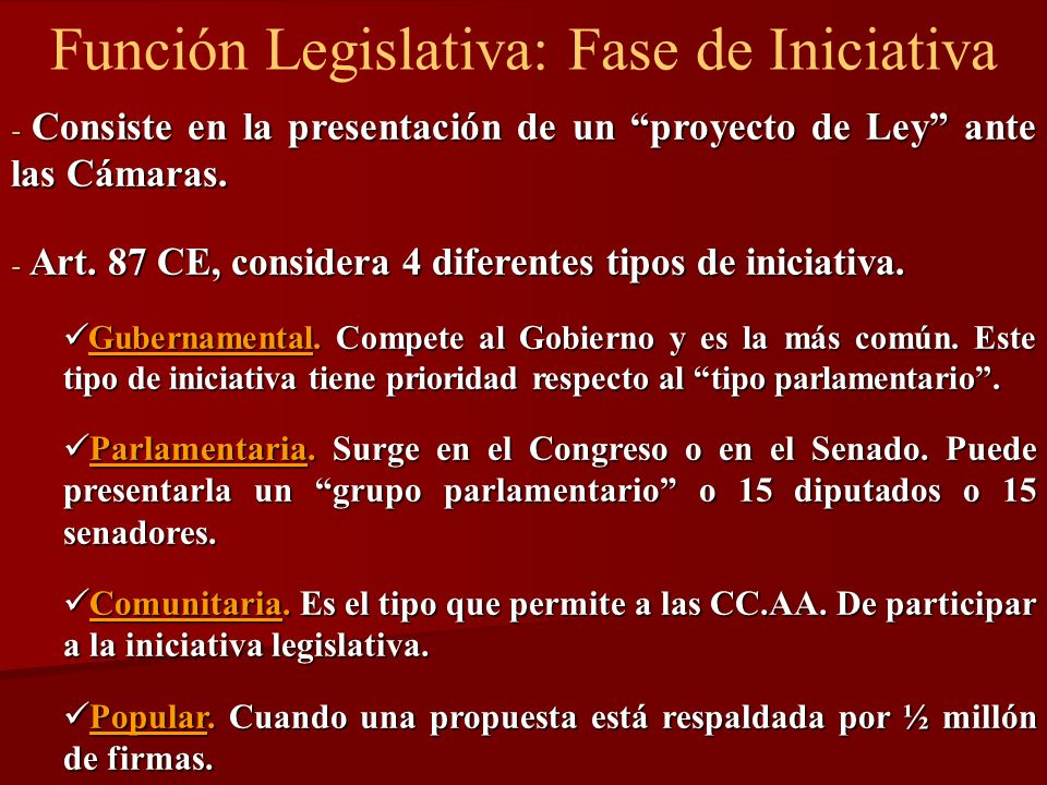 Función Legislativa: Fase de Iniciativa - Consiste en la presentación de un proyecto de Ley ante las Cámaras. - Art. 87 CE, considera 4 diferentes tip