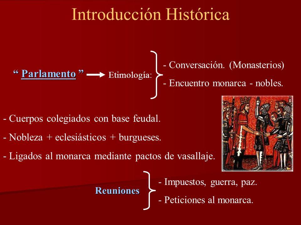 Introducción Histórica - Conversación. (Monasterios) - Encuentro monarca - nobles. Parlamento Parlamento Etimología: - Cuerpos colegiados con base feu