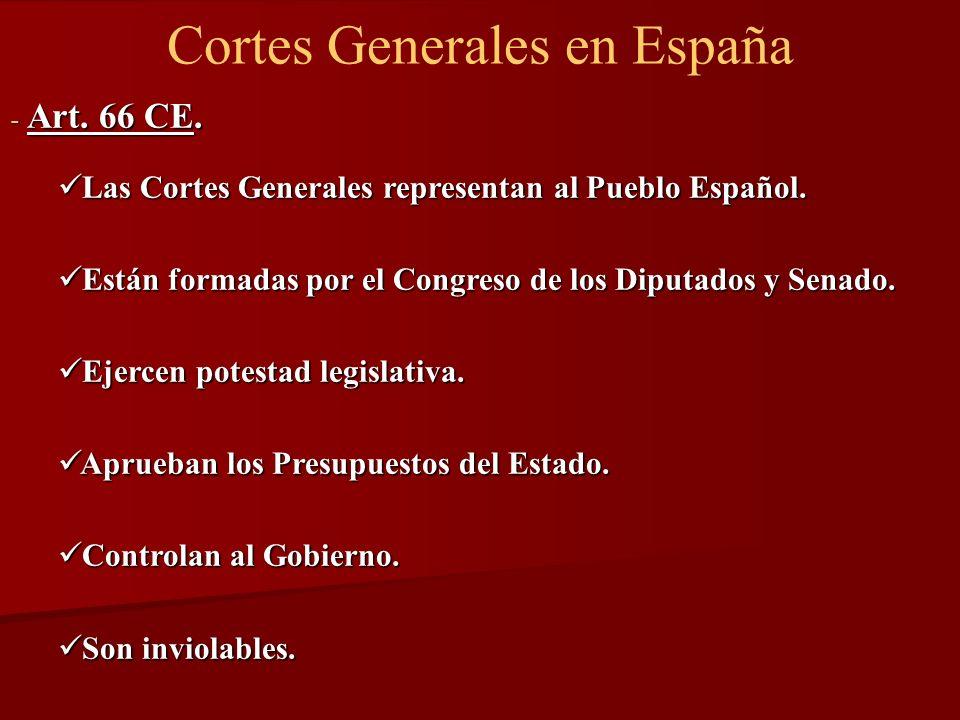 Cortes Generales en España - Art. 66 CE. Las Cortes Generales representan al Pueblo Español. Las Cortes Generales representan al Pueblo Español. Están