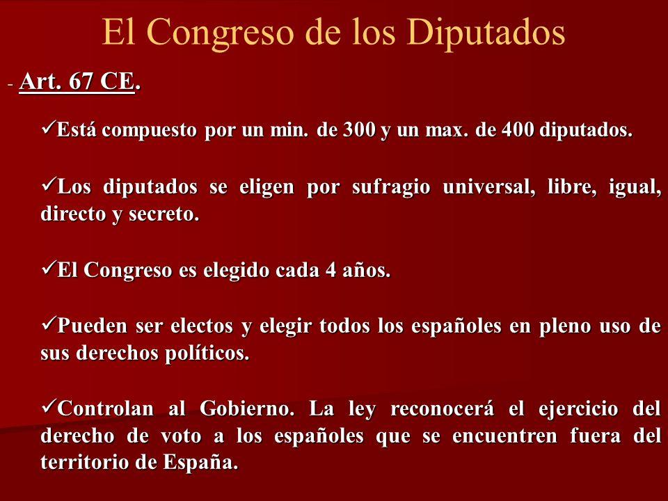 El Congreso de los Diputados - Art. 67 CE. Está compuesto por un min. de 300 y un max. de 400 diputados. Está compuesto por un min. de 300 y un max. d