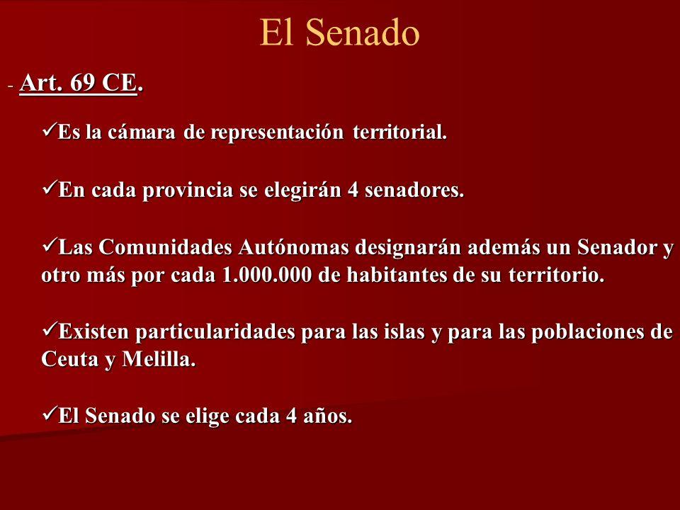 El Senado - Art. 69 CE. Es la cámara de representación territorial. Es la cámara de representación territorial. En cada provincia se elegirán 4 senado