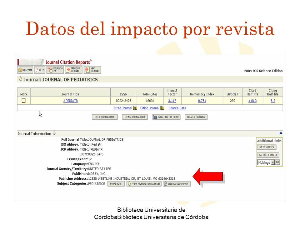 Biblioteca Universitaria de CórdobaBiblioteca Universitaria de Córdoba Datos del impacto por revista