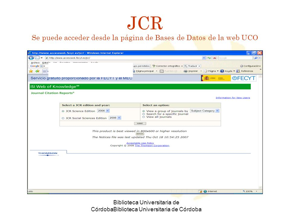 Biblioteca Universitaria de CórdobaBiblioteca Universitaria de Córdoba Categorías temáticas