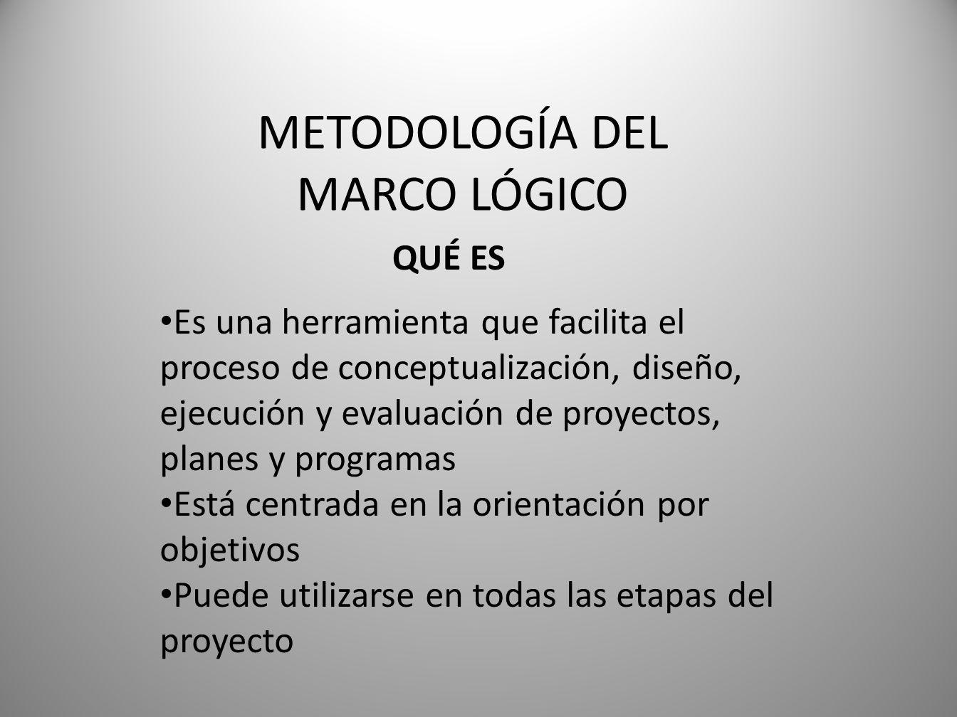 METODOLOGÍA DEL MARCO LÓGICO Es una herramienta que facilita el proceso de conceptualización, diseño, ejecución y evaluación de proyectos, planes y programas Está centrada en la orientación por objetivos Puede utilizarse en todas las etapas del proyecto QUÉ ES