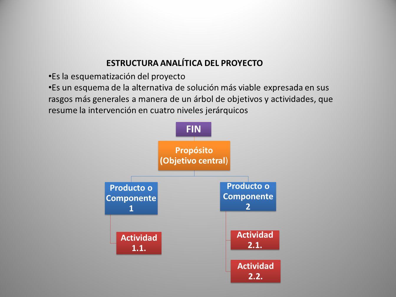 ESTRUCTURA ANALÍTICA DEL PROYECTO Es la esquematización del proyecto Es un esquema de la alternativa de solución más viable expresada en sus rasgos más generales a manera de un árbol de objetivos y actividades, que resume la intervención en cuatro niveles jerárquicos FIN Propósito (Objetivo central) Producto o Componente 1 Actividad 1.1.