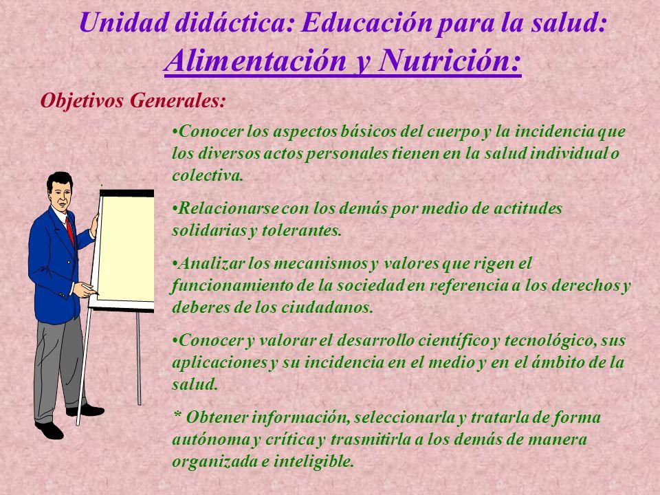 Unidad didáctica: Educación para la salud: Alimentación y Nutrición: Objetivos Generales:. Conocer los aspectos básicos del cuerpo y la incidencia que