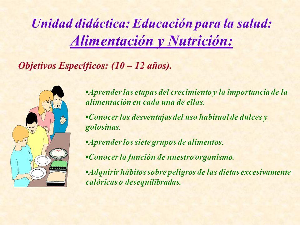 Unidad didáctica: Educación para la salud: Alimentación y Nutrición: Objetivos Específicos: (10 – 12 años). Aprender las etapas del crecimiento y la i