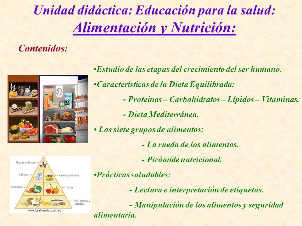 Unidad didáctica: Educación para la salud: Alimentación y Nutrición: Contenidos: Estudio de las etapas del crecimiento del ser humano. Características