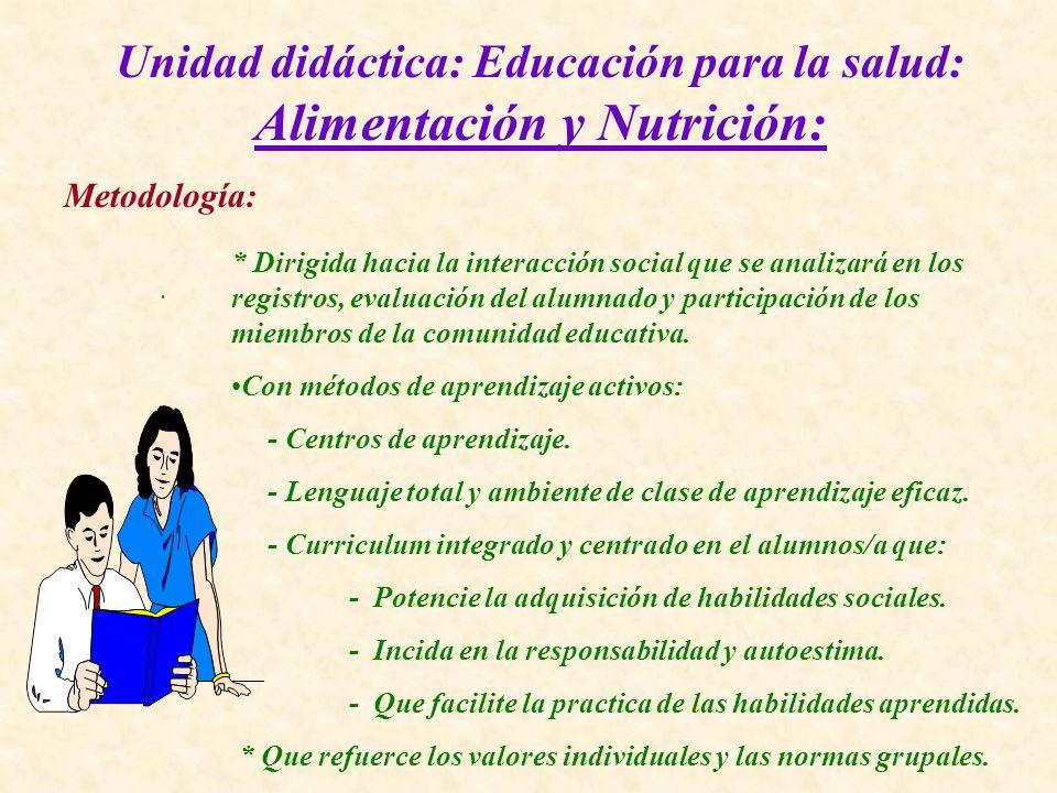 Unidad didáctica: Educación para la salud: Alimentación y Nutrición: Metodología:. * Dirigida hacia la interacción social que se analizará en los regi