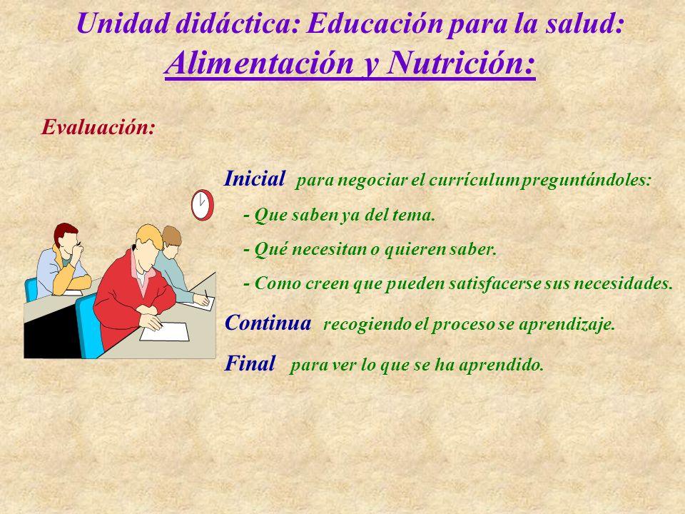 Unidad didáctica: Educación para la salud: Alimentación y Nutrición: Evaluación: Inicial para negociar el currículum preguntándoles: - Que saben ya de
