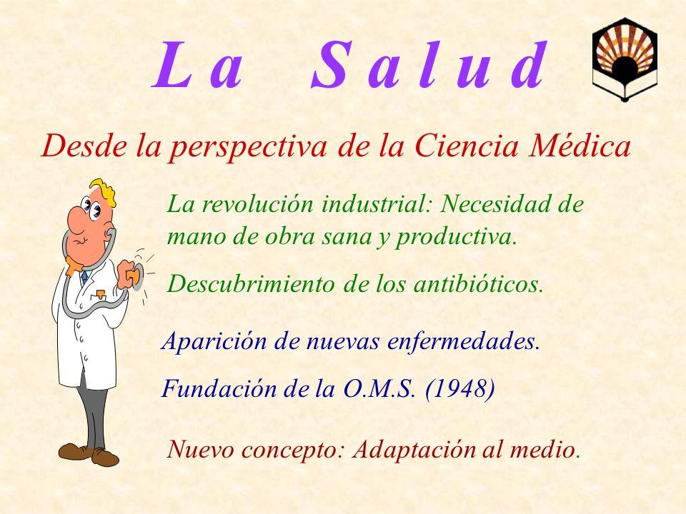 L a S a l u d Desde la perspectiva de la Ciencia Médica La revolución industrial: Necesidad de mano de obra sana y productiva. Descubrimiento de los a