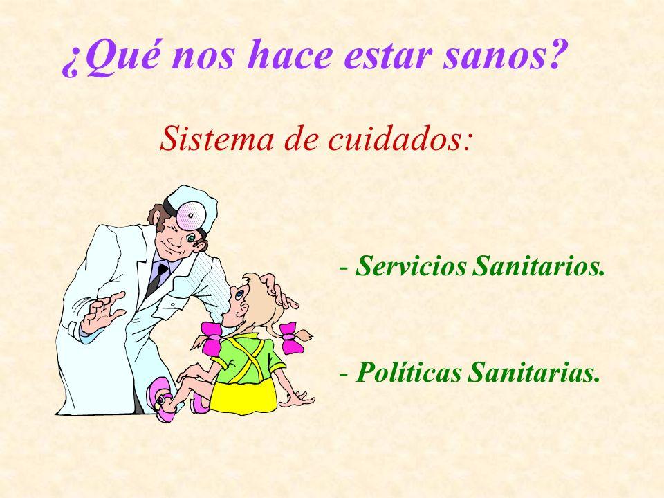 ¿Qué nos hace estar sanos? Sistema de cuidados: - Servicios Sanitarios. - Políticas Sanitarias.