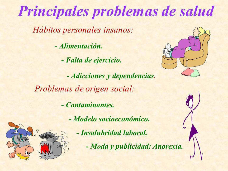 Principales problemas de salud Hábitos personales insanos: - Alimentación. - Falta de ejercicio. - Adicciones y dependencias. Problemas de origen soci