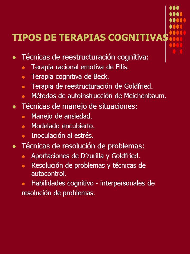 TIPOS DE TERAPIAS COGNITIVAS Técnicas de reestructuración cognitiva: Terapia racional emotiva de Ellis. Terapia cognitiva de Beck. Terapia de reestruc