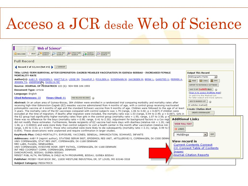 Acceso a JCR desde Web of Science