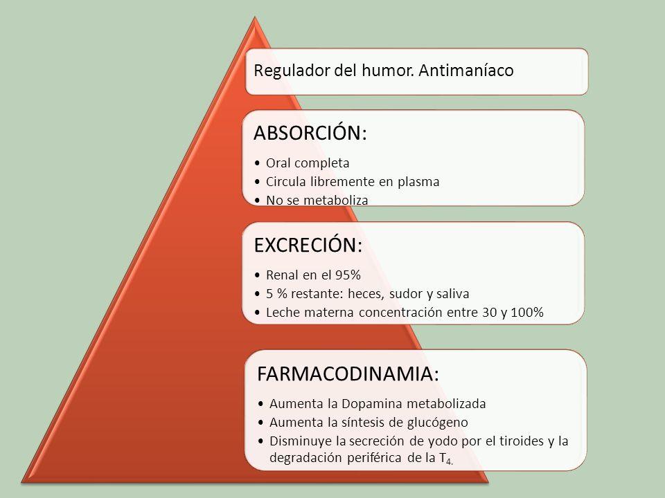 EFECTOS SECUNDARIOS Nausea, vómitos y diarrea Polidipsia y fatigabilidad S.
