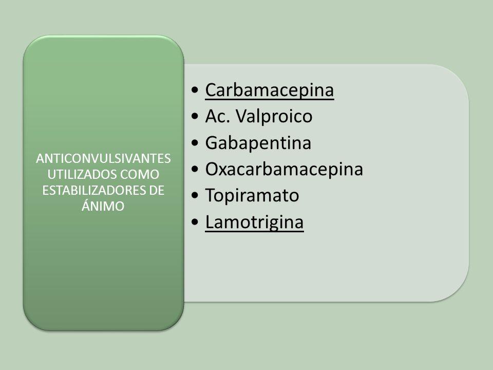 Carbamacepina Ac. Valproico Gabapentina Oxacarbamacepina Topiramato Lamotrigina ANTICONVULSIVANTES UTILIZADOS COMO ESTABILIZADORES DE ÁNIMO