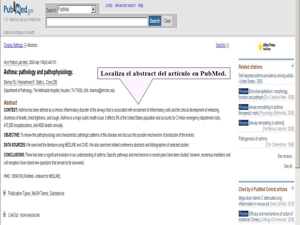 Localiza el abstract del artículo en PubMed.