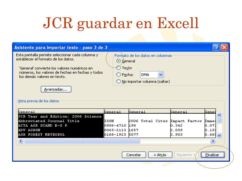 JCR guardar en Excell