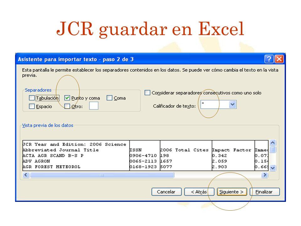 JCR guardar en Excel