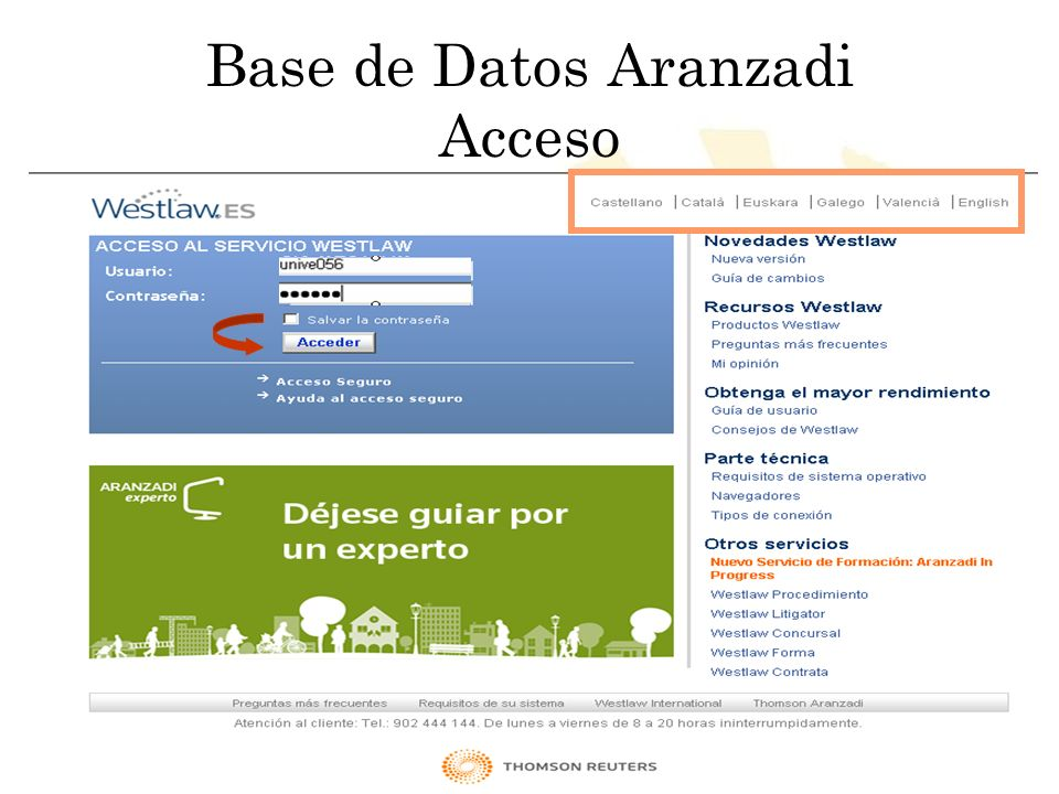 Biblioteca Universitaria de Córdoba Base de Datos Aranzadi Acceso