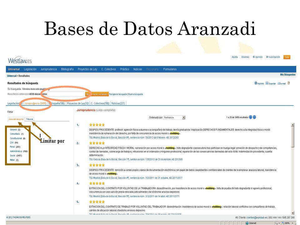 Biblioteca Universitaria de Córdoba Bases de Datos Aranzadi