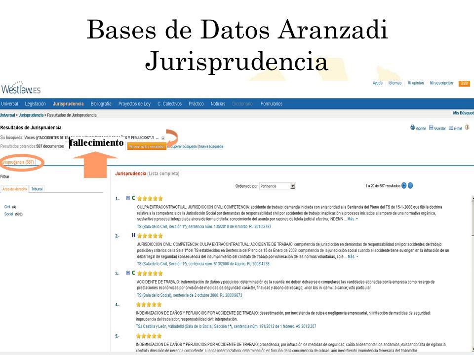 Biblioteca Universitaria de Córdoba Bases de Datos Aranzadi Jurisprudencia
