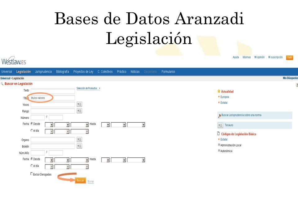 Biblioteca Universitaria de Córdoba Bases de Datos Aranzadi Legislación