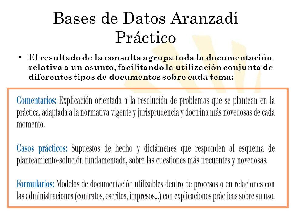 Biblioteca Universitaria de Córdoba Bases de Datos Aranzadi Práctico El resultado de la consulta agrupa toda la documentación relativa a un asunto, fa