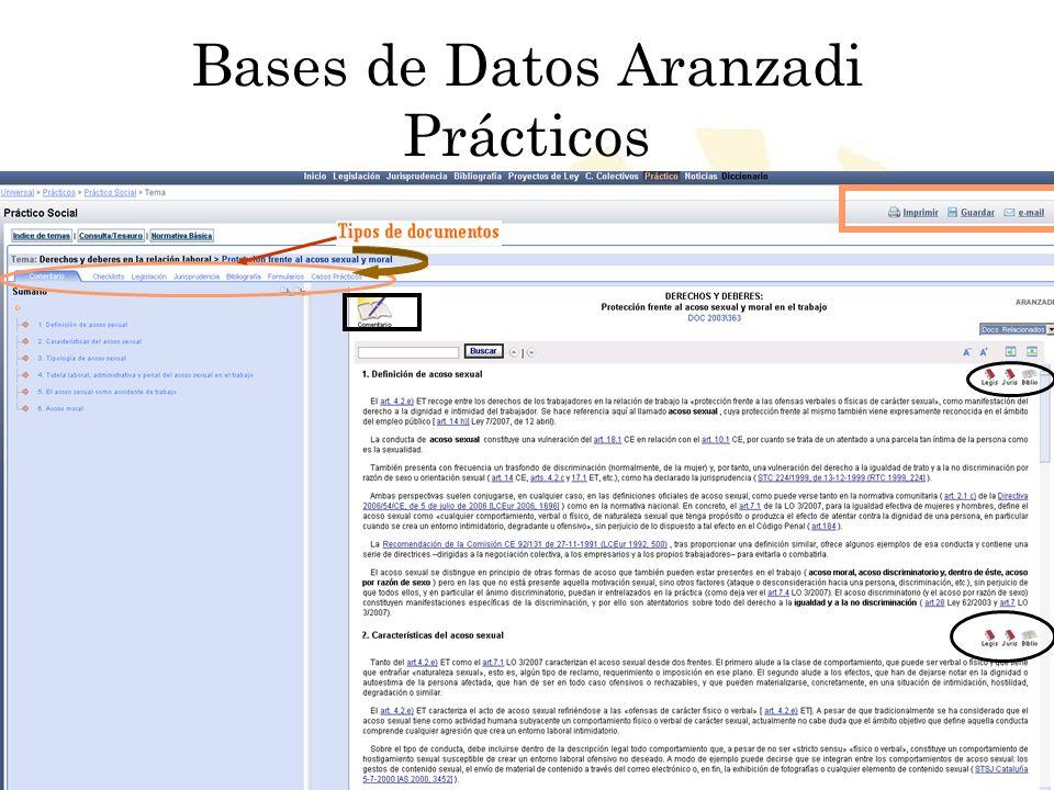 Biblioteca Universitaria de Córdoba Bases de Datos Aranzadi Prácticos