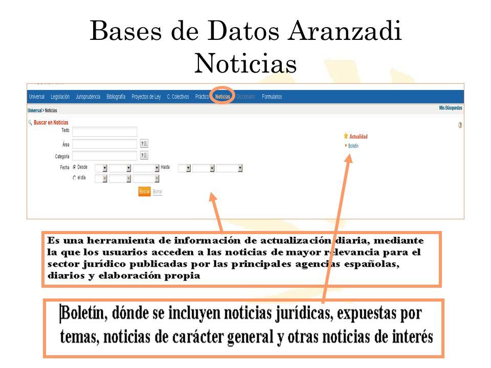 Biblioteca Universitaria de Córdoba Bases de Datos Aranzadi Noticias