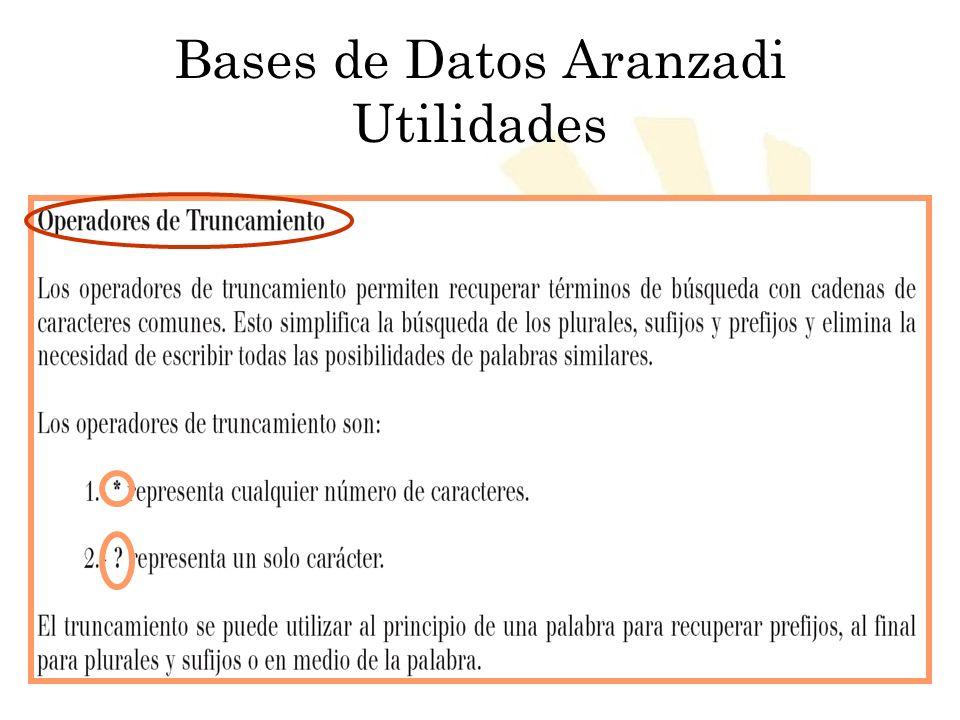 Biblioteca Universitaria de Córdoba Bases de Datos Aranzadi Utilidades