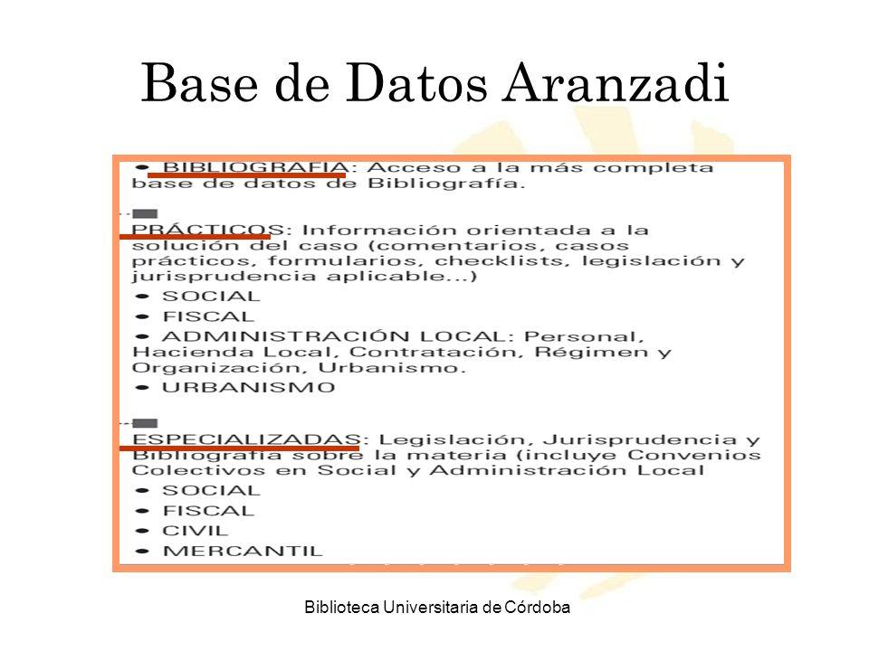 Biblioteca Universitaria de Córdoba Base de Datos Aranzadi