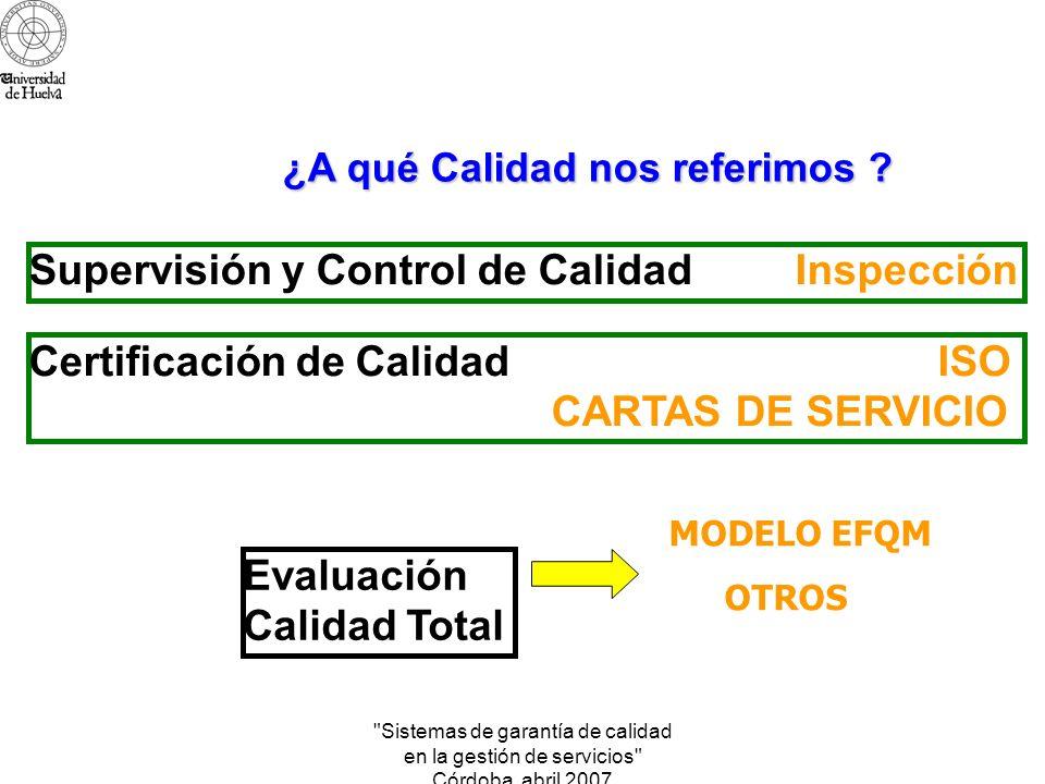 Sistemas de garantía de calidad en la gestión de servicios Córdoba abril 2007 Definir el concepto de calidad