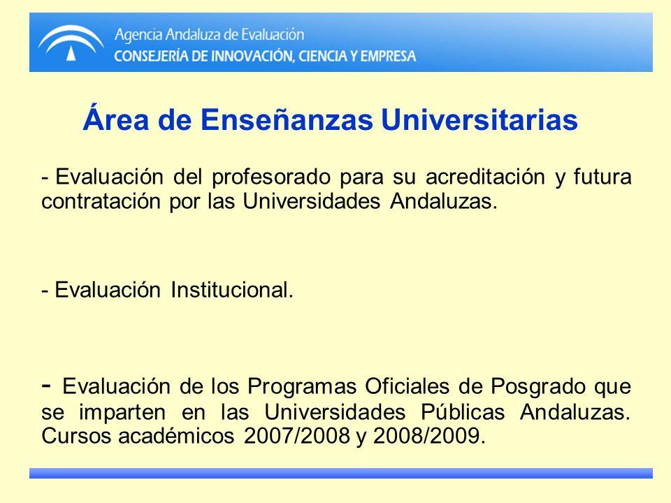 Área de Enseñanzas Universitarias - Evaluación del profesorado para su acreditación y futura contratación por las Universidades Andaluzas. - Evaluació