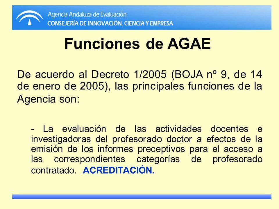 Funciones de AGAE De acuerdo al Decreto 1/2005 (BOJA nº 9, de 14 de enero de 2005), las principales funciones de la Agencia son: - La evaluación de la