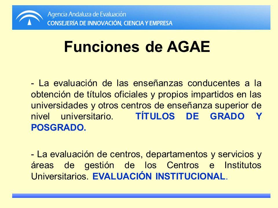 Funciones de AGAE - La evaluación de las enseñanzas conducentes a la obtención de títulos oficiales y propios impartidos en las universidades y otros