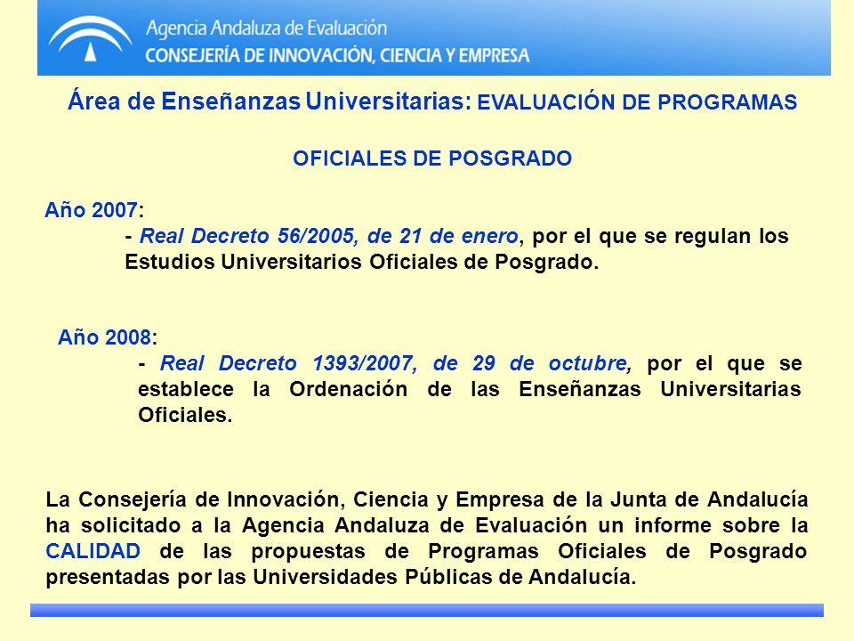 Área de Enseñanzas Universitarias: EVALUACIÓN DE PROGRAMAS OFICIALES DE POSGRADO Año 2007: - Real Decreto 56/2005, de 21 de enero, por el que se regul