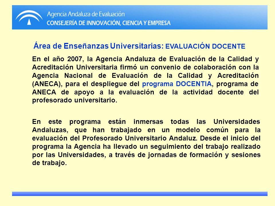 Área de Enseñanzas Universitarias: EVALUACIÓN DOCENTE En el año 2007, la Agencia Andaluza de Evaluación de la Calidad y Acreditación Universitaria fir