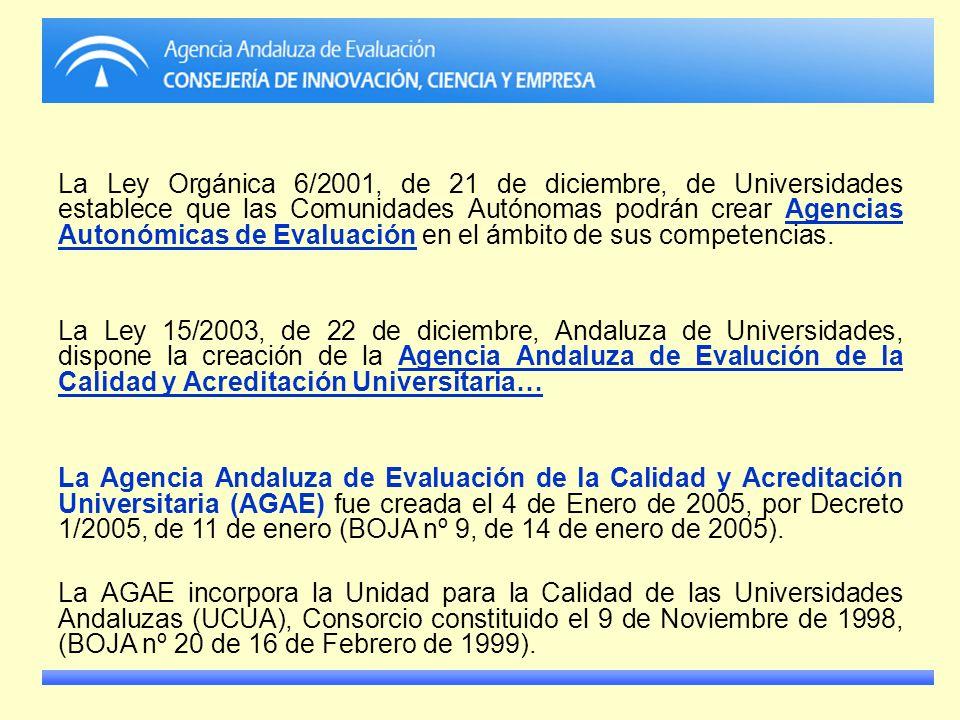 La Ley Orgánica 6/2001, de 21 de diciembre, de Universidades establece que las Comunidades Autónomas podrán crear Agencias Autonómicas de Evaluación e