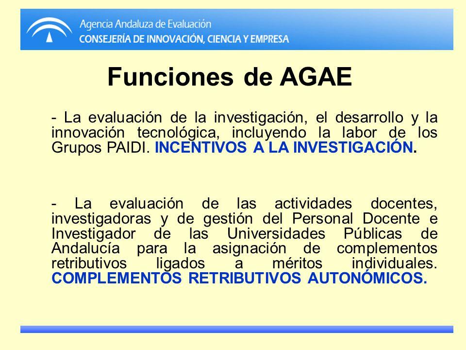 Funciones de AGAE - La evaluación de la investigación, el desarrollo y la innovación tecnológica, incluyendo la labor de los Grupos PAIDI. INCENTIVOS