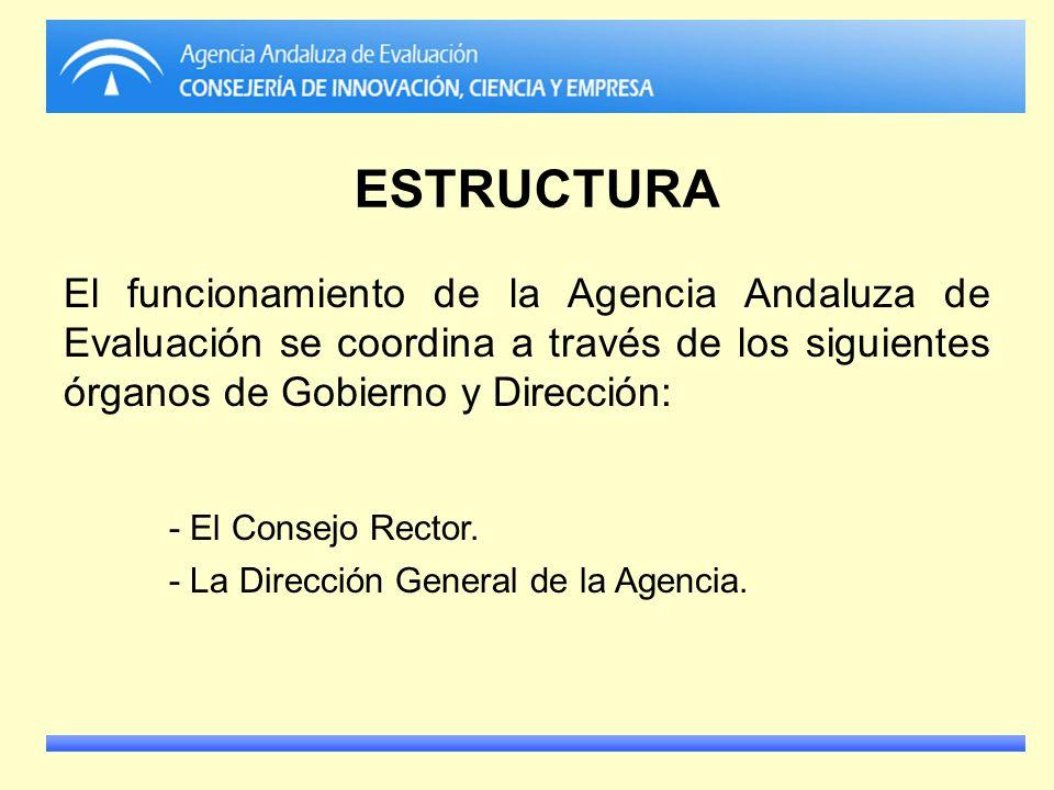 ESTRUCTURA El funcionamiento de la Agencia Andaluza de Evaluación se coordina a través de los siguientes órganos de Gobierno y Dirección: - El Consejo