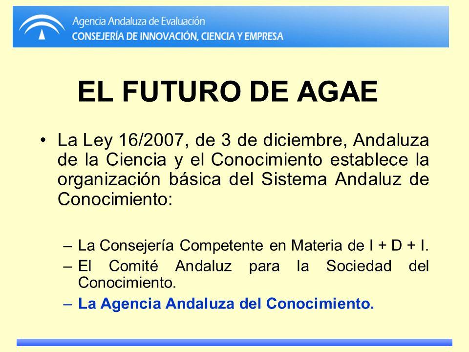 EL FUTURO DE AGAE La Ley 16/2007, de 3 de diciembre, Andaluza de la Ciencia y el Conocimiento establece la organización básica del Sistema Andaluz de