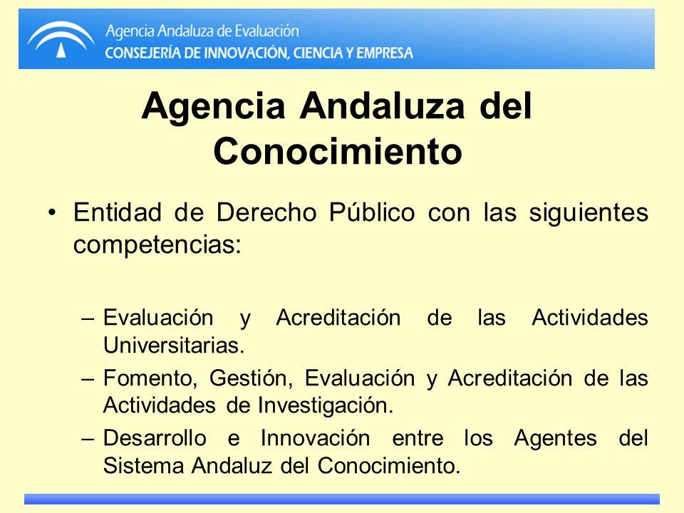 Agencia Andaluza del Conocimiento Entidad de Derecho Público con las siguientes competencias: –Evaluación y Acreditación de las Actividades Universita